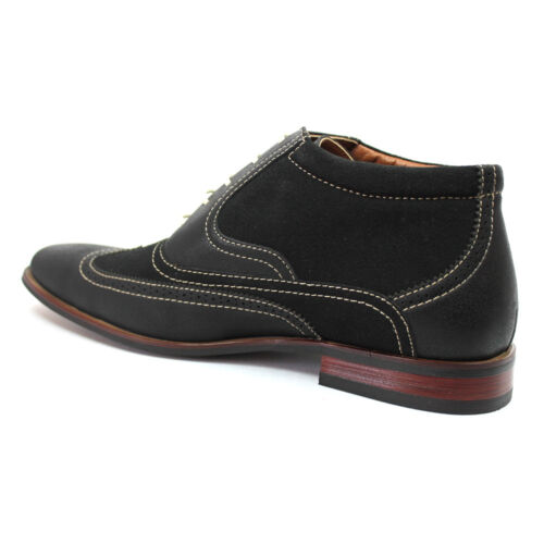 New Men/'s Black Ferro Aldo Ankle Boots Wing Tip Suede//Leather Lace Up NEW 806007