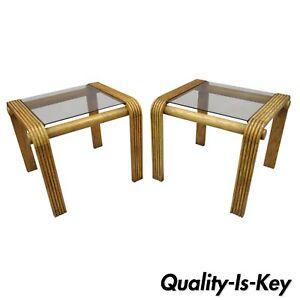 Remarkable Details About Pair Vtg Mid Century Modern Oak Wood Floating Glass End Tables Lou Hodges Style Download Free Architecture Designs Grimeyleaguecom
