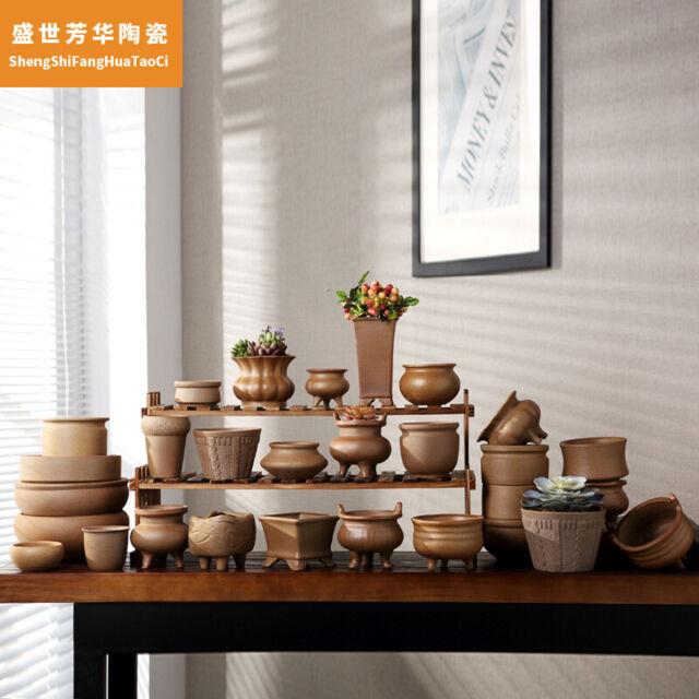Ceramics Chinese Bonsai Flower Pot Round Dark Green Glazed Pot For Home Decor