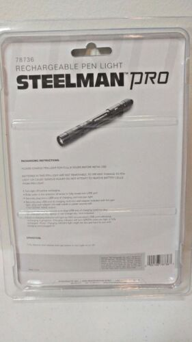 STEELMAN PRO 78736 USB Rechargeable LED Pen Light Flashlight Hurricane