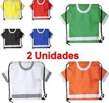 2 x Bolsa Mochila Plegable con Cuerdas forma camiseta,42x31,5 cm,poliéster,niños