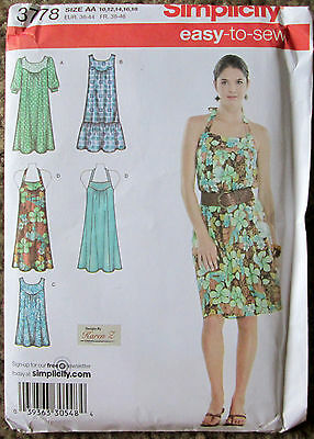 SIMPLICITY Sewing Pattern #3778 MISSES WOMEN DRESSES or TUNIC Size 10-18 UNCUT