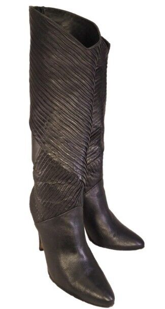 STUNNING BIONDINI DESIGNER  WOMAN BLACK LEATHER BOOTS SIZE 8.5 ITALIAN