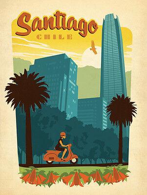 Vintage Retro Travel /& Railways Poster Print #3 SANTIAGO CHILE A3 SIZE