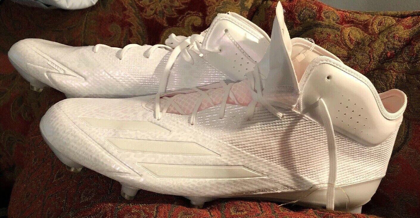 Adidas Men's Adizero  Mid Football Cleats White 600001 Size 18