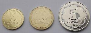 TAJIKISTAN-Full-set-7-coins-2019-5-10-20-50-Diram-1-3-5-Somoni-NEW-UNC