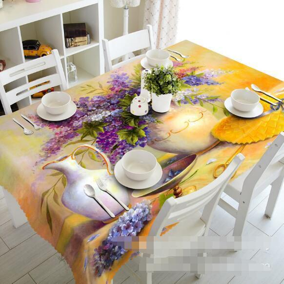 3D Flowers Vase 4 Tablecloth Table Cover Cloth Birthday Party Event AJ WALLPAPER