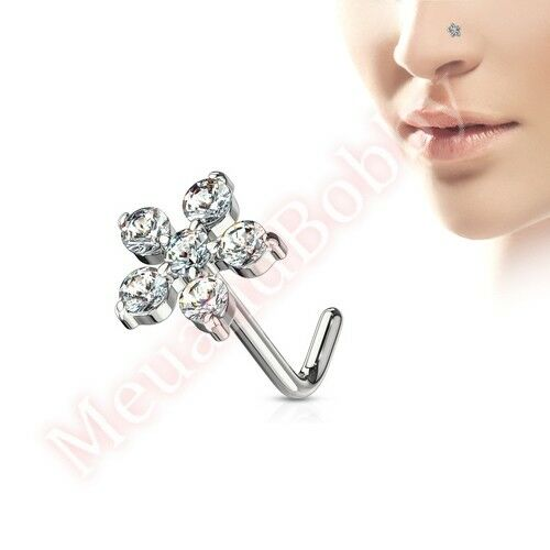 20G CZ Flower L Bend Nose Stud Bar Body Piercing Jewellery