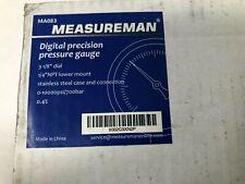 Measureman 0 10000psi Digital Pressure Gauge 3 18 Dial 14 Npt Lower Mount