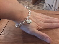 Brand new Silver 925 stamped chunky Bracelet with a small puffed heart  charm