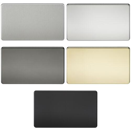 Knightsbridge Screwless 2 Gang Blank Blanking Plate Rectangular Flat Wall Plate