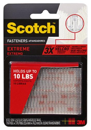 3M 2pk Scotch Extreme Fasteners Clear Re-Closable Strips RF6730