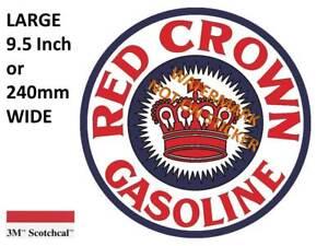VINTAGE RED CROWN GASOLINE DECAL STICKER LABEL 9.5 INCH DIA 240 MM HOT ROD