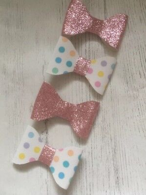 99p! Glitter Bow Hairband Clip Bobble Sparkle Small Girls Baby Gold Pink White