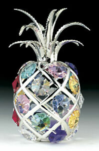 SWAROVSKI-COLORED-CRYSTAL-ELEMENTS-034-PINEAPPLE-034-FIGURINE-SILVER-PLATED