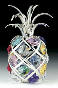 Pineapple-FIGURINE-SILVER-PLATED-WITH-COLOR-AUSTRIAN-CRYSTALS