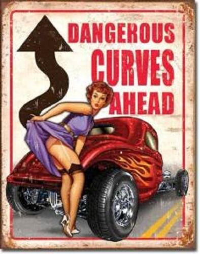 Legends Hot Rod Street Rods Rat Weathered Dangerous Curves Metal Tin Sign New
