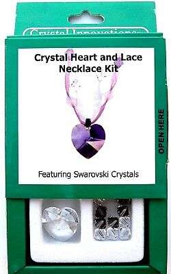 New Swarovski Crystal Innovations Crystal Heart /& Lace Necklace Kit in Purple.