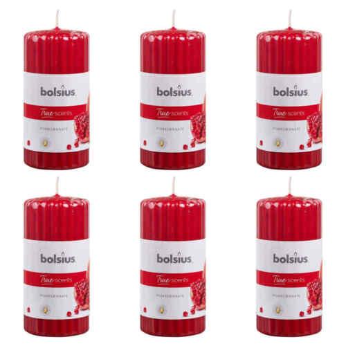 Bolsius 6x Duft Stumpenkerze Geriffelt 120x58mm Granatapfel Duftkerzen Kerzen