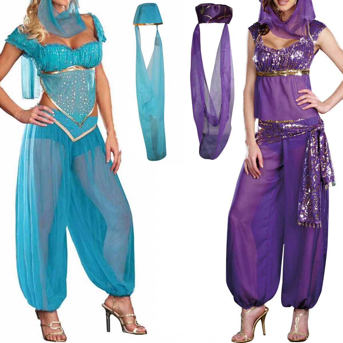 Princess Jasmine Costume Ladies Fancy Dress Belly Dancer Outfit UK 8//10//12//14//16