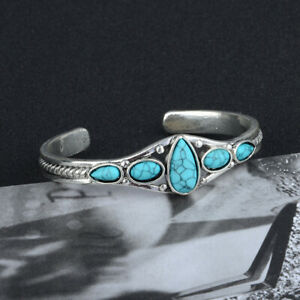 Women-Vintage-Tibetan-Silver-Turquoise-Gems-Bracelet-Adjustable-Wedding-Jewelry