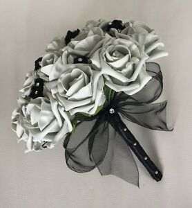 Image Is Loading Wedding Flowers Artificial Black Silver Foam Rose
