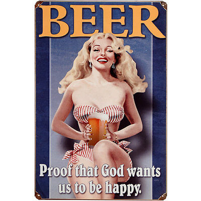 Beer Proof That God Wants Us To Be Happy Metal Bar Sign-Funny Pub Drinking Decor
