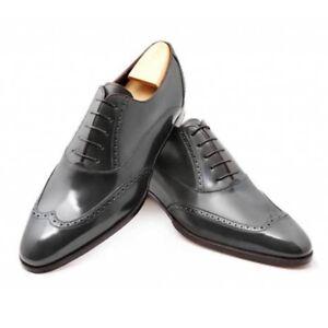 c55b33bd2e Handmade Men Wingtip brogue formal shoes, Men black leather dress ...