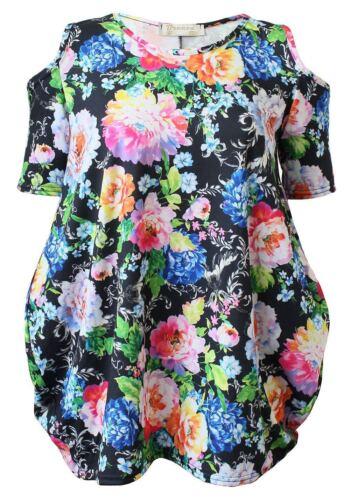 Womens Printed Cold Shoulder Floral Baggy Top Ladies Floral Cut Shoulder Top