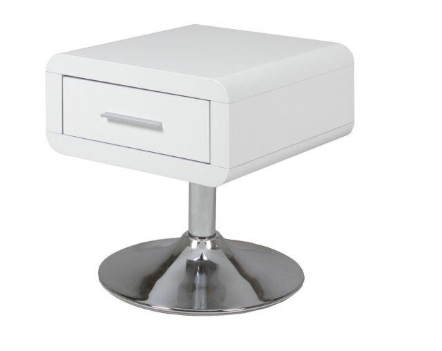 Table de chevet Côme Armoire nuit console d'appoint Blanc Haute Brillance