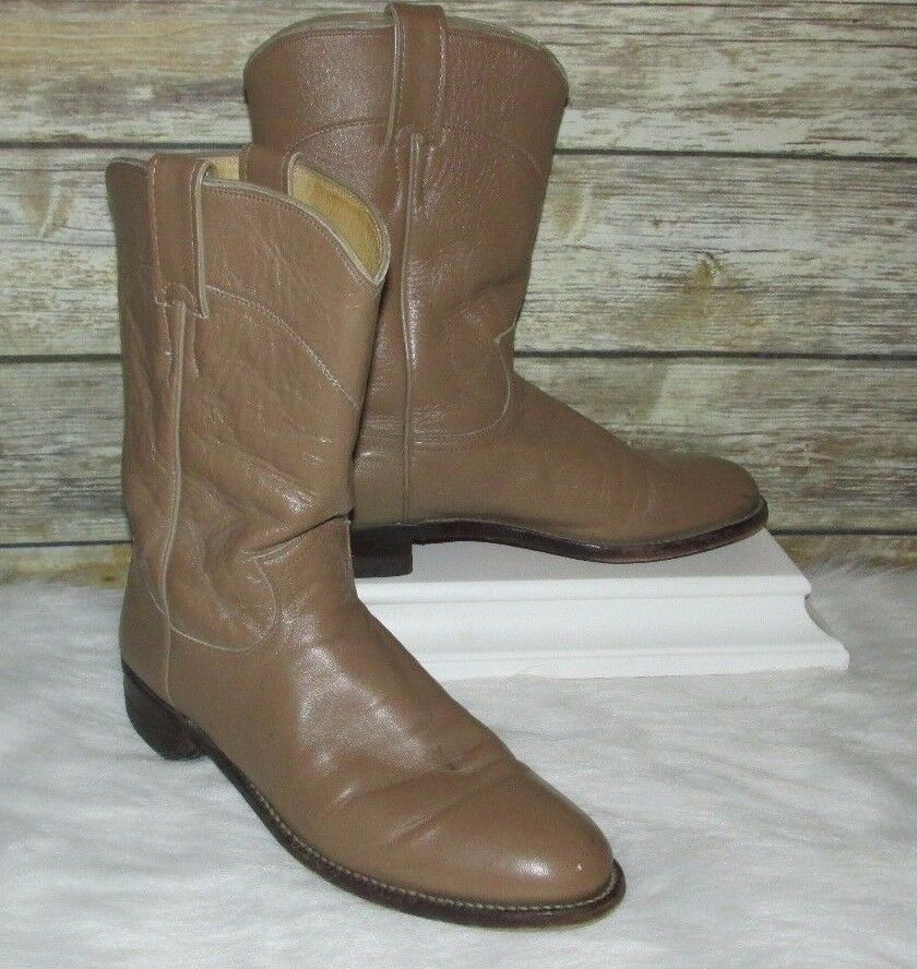 Vntg Justin Light Brown Leather Sz 8B Western Roper/Riding/Ankle Boots USA Made