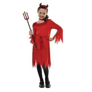 Lil Devil Girls Halloween Fancy Dress Kids Costume 4-6 Yrs