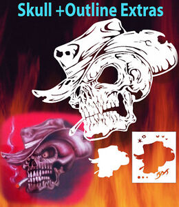 Mini Skull 8 Special Two Layer Airbrush Stencil Spray Vision Template air brush