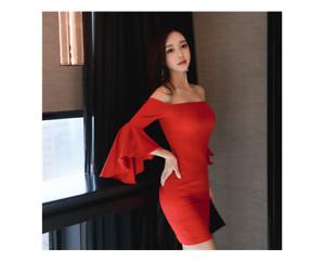 vestito corto abito tubino elegante rosso maniche slim morbido moda manica 4875