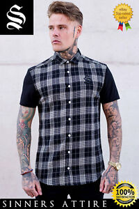 e5ea6ea72de SNRS ATTIRE White Black Flannel Check Shirt - Gym Muscle Shirt Sik ...