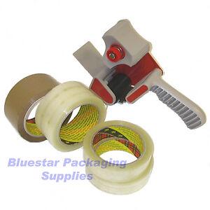 3-x-Buff-3-x-Clear-3M-Scotch-Packing-Tape-Tape-Gun