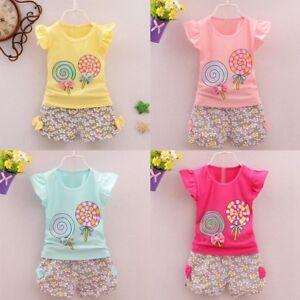 Toddler Kids Baby Girl Summer Tops T-shirt Shorts Pants 2Pcs Outfits Clothes