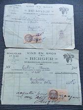 DEUX  ANCIENNES FACTURES VINS EN GROS BERGER FAURE 1934 AVEC FISCAUX