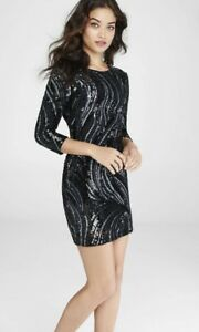 80bf6826f52 Express Sequin Mini Party Dress in Black - Scoop Back SZ 8 NEW RET ...