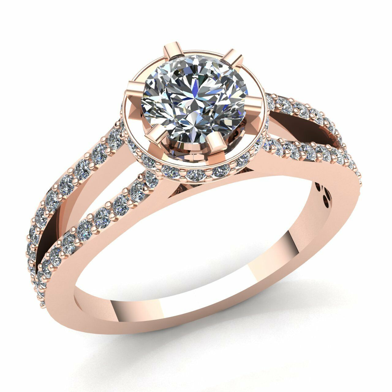 Natural 0.75carat Round Diamond Ladies Solitaire Halo Engagement Ring 10K gold