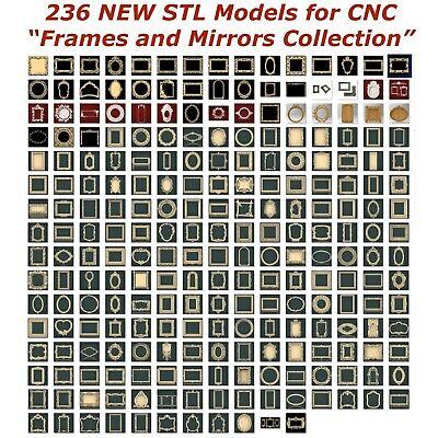 236 NEW Frames and Mirrors 3d STL Models for CNC Router 3d-Printer Artcam Aspire