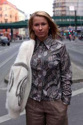 Camicia Camicetta Manica Lunga Collo A Punta Grigio Beige 70er True Vintage 70s Blouse Shirt-mostra Il Titolo Originale Fabbricazione Abile
