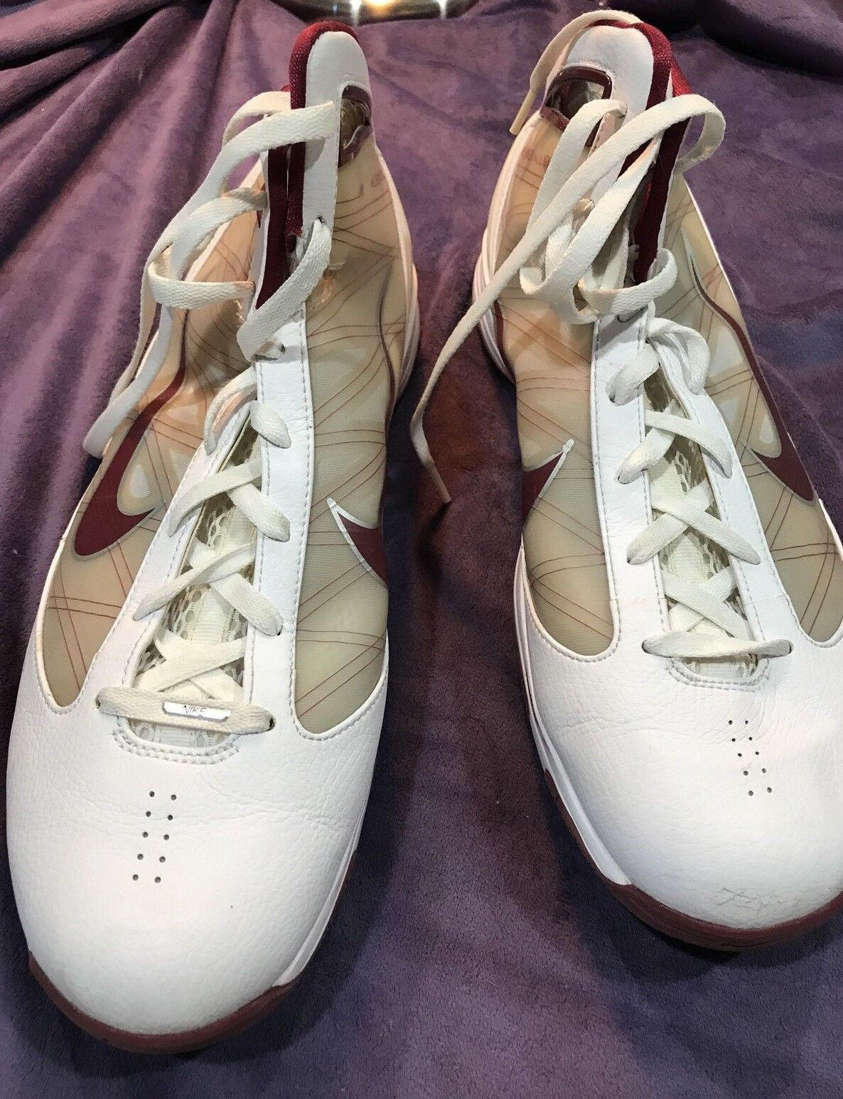 Nike Hyperize Flywire Men White / Maroon High Top Basketball Sneaker Shoe 15