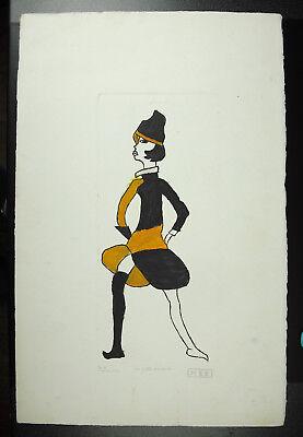 """Meb Michel E. Bertrand """"la Petite Danseuse"""" Estampe Retouchée à La Main C1950"""