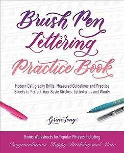 Libro-de-practica-Pincel-Pluma-letras-guia-de-caligrafia-taladros-medido-moderno