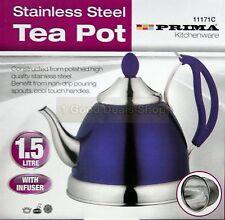 Purple 1.5L Stainless Steel Tea Pot Kettle & Infuser Cordless Mint Tea Pot 71C