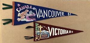 ORIGINAL FELT PENNANTS CANADA VANCOUVER BC VICTORIA 40's 50's SOUVENIR LOT