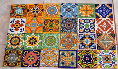 "24 Mexican Talavera Tile mix 4x4/"""