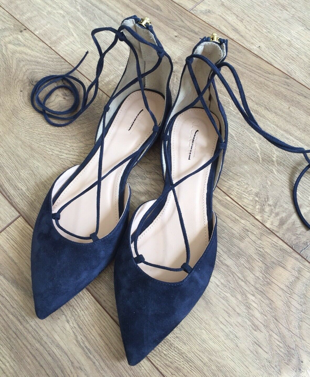 JCrew $168 Suede Lace-Up Flats Shoes 6 Navy Blue G0880 Shoes Flats 7bb96b