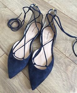 JCrew $168 Suede Lace-Up Flats 6 Navy
